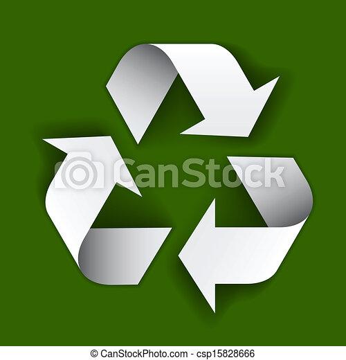 riciclare simbolo, carta, vettore - csp15828666