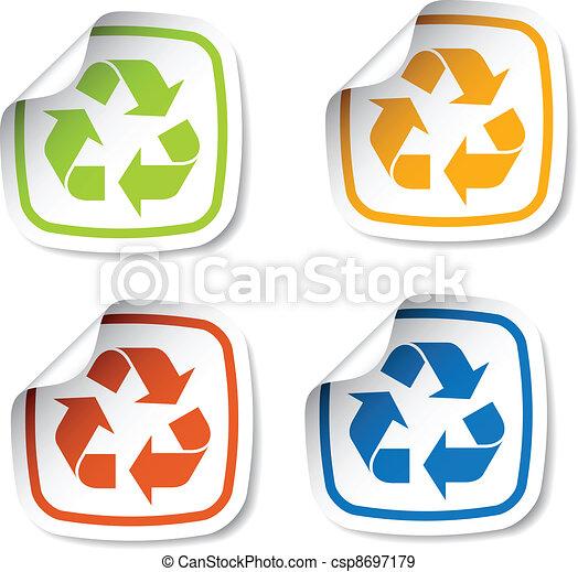riciclare, vettore, adesivi - csp8697179