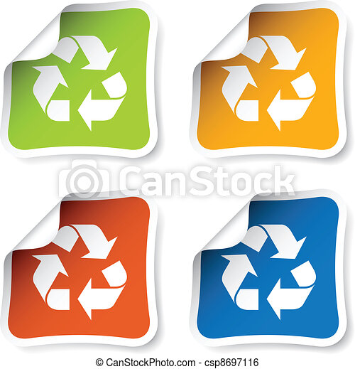 riciclare, vettore, adesivi - csp8697116
