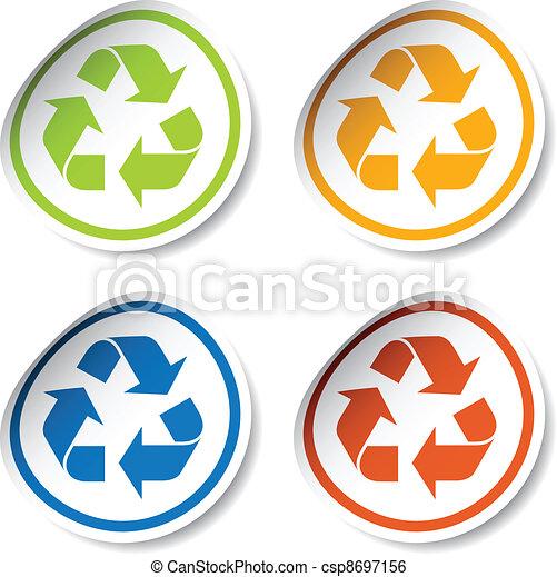 riciclare, vettore, adesivi - csp8697156
