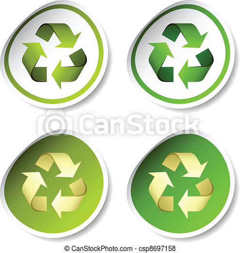 riciclare, vettore, adesivi - csp8697158