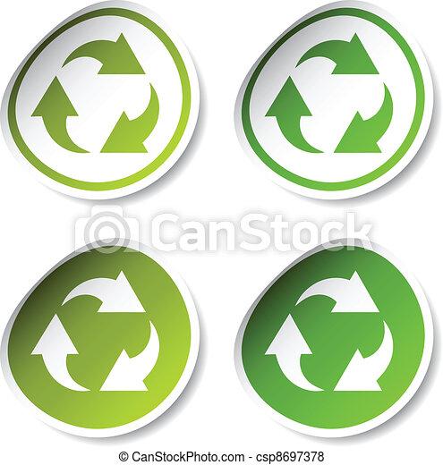 riciclare, vettore, adesivi - csp8697378