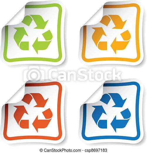 riciclare, vettore, adesivi - csp8697183