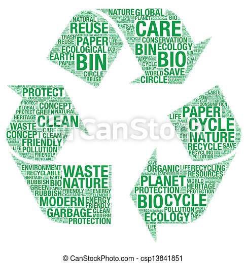riciclare, wordart, simbolo, vettore - csp13841851