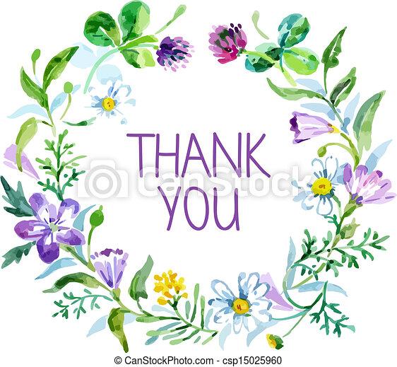 ringraziare, bouquet., illustrazione, acquarello, vettore, floreale, lei, scheda - csp15025960