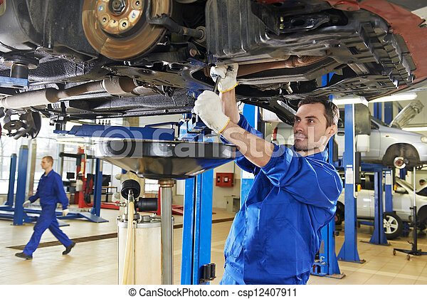 riparazione, automobile, lavoro, meccanico, auto, sospensione - csp12407911