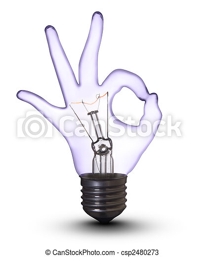 ritaglio, ok, (with, mano, lampada, bulbo, bianco, path) - csp2480273