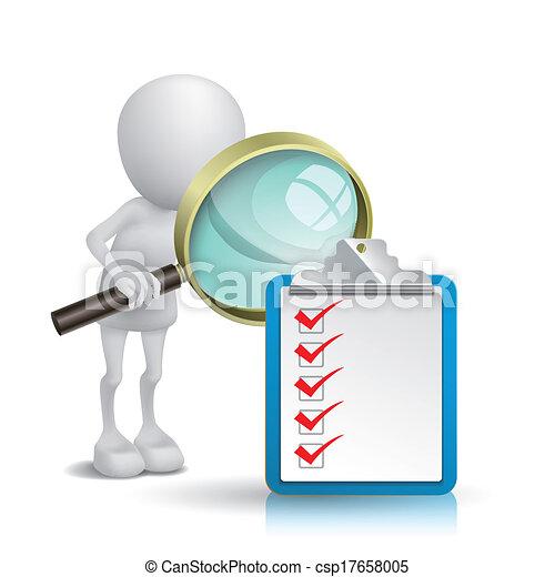 ritaglio, osservare, elenco, assegno, nota, vetro, persona, cuscinetto, ingrandendo, 3d - csp17658005