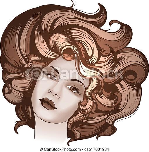 ritratto, stile, donna, retro - csp17801934