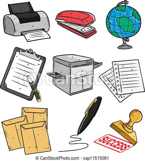 roba, ufficio, set, icona, cartone animato - csp11515081