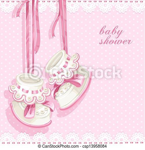 rosa, doccia, scheda, bottini, bambino - csp13958084