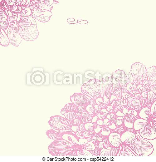 rosa, floreale, cornice, vettore, quadrato - csp5422412