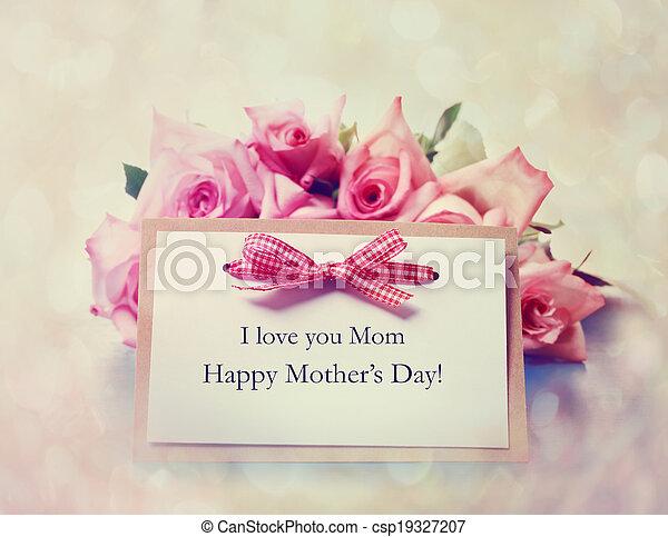 rosa, madri, fatto mano, rose, giorno, scheda - csp19327207