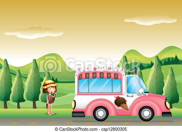 rosa, poco, autobus, ghiaccio, ragazza, crema - csp12800305