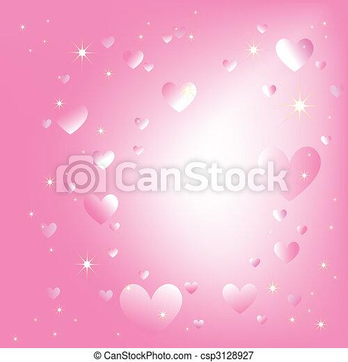 rosa, romantico, sfondo colore, sfavillante, stelle, cuori - csp3128927