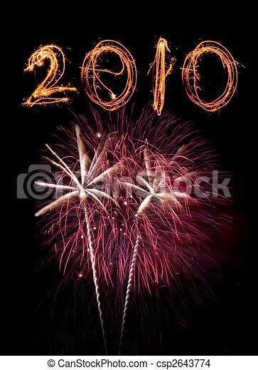 rosa, sky., sparklers, fireworks, contro, scritto, nero, 2010 - csp2643774