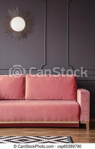 Rosa Soggiorno Parete Oro Foto Interior Specchio Grigio Contro Scuro Divano Reale Rotondo Canstock