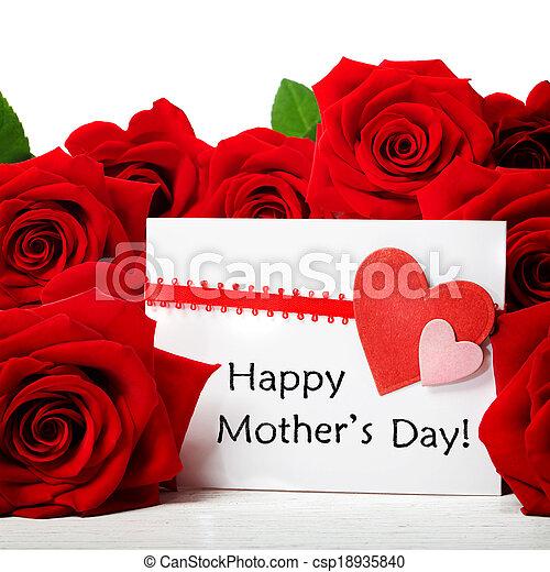 rose, messaggio, giorno, rosso, madri - csp18935840