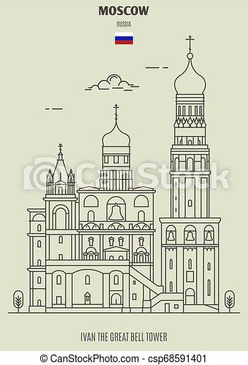 russia., torre, punto di riferimento, campana, icona, mosca, grande, ivan - csp68591401