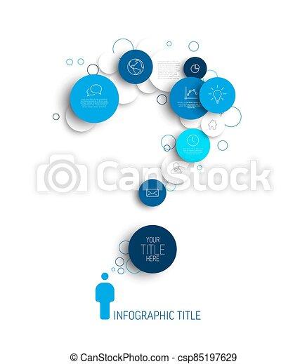 sagoma, astratto, luce, cerchi, domanda, infographic, -, marchio, blu, vettore - csp85197629