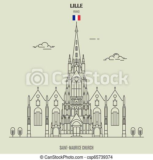 saint-maurice, france., chiesa, lille, punto di riferimento, icona - csp65739374