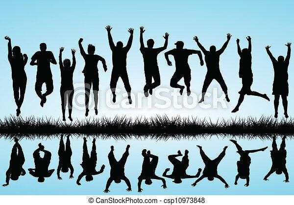 saltare, gruppo, giovani persone - csp10973848