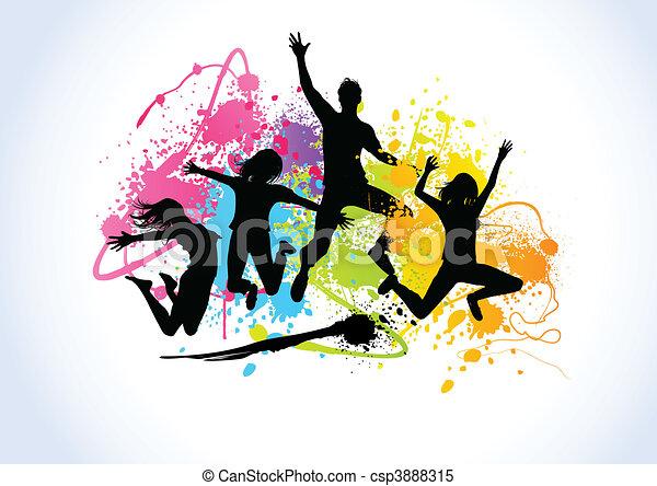 saltare, persone - csp3888315