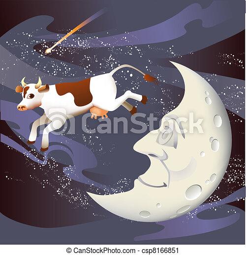 saltato, sopra, mucca, luna - csp8166851