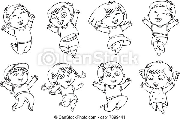 salto, gioia, bambini - csp17899441