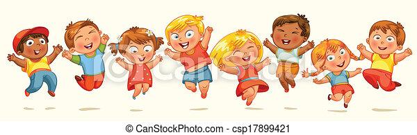 salto, joy., bandiera, bambini - csp17899421
