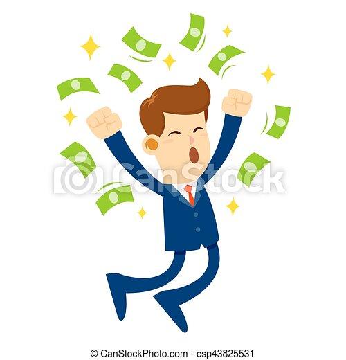 salto, soldi, circondato, uomo affari, gioia - csp43825531