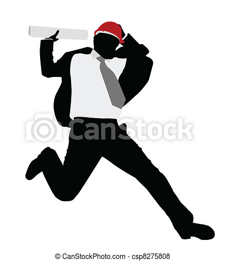 salto, uomo affari, hardhat - csp8275808