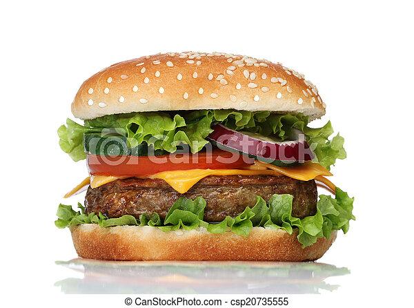 saporito, bianco, hamburger, isolato - csp20735555