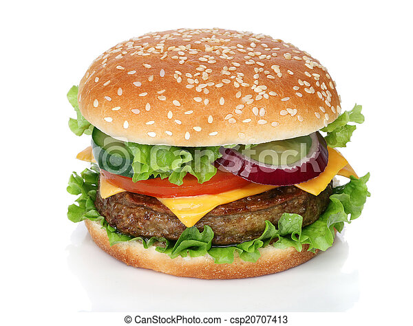 saporito, bianco, hamburger, isolato - csp20707413