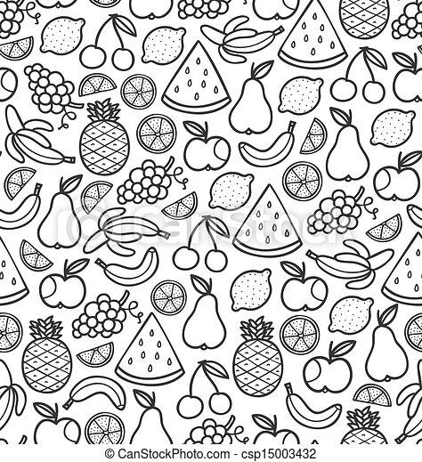 scarabocchiare, frutte, succoso, seamless, nero, modello - csp15003432