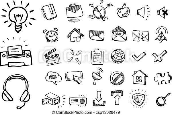 scarabocchiare, icone fotoricettore - csp13028479