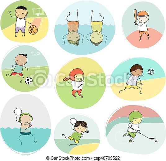 scarabocchiare, sport squadra, bambini - csp40703522