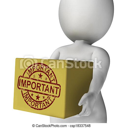 scatola, alto, prodotto, esposizione, consegna, importante, significativo, priorità - csp18337548
