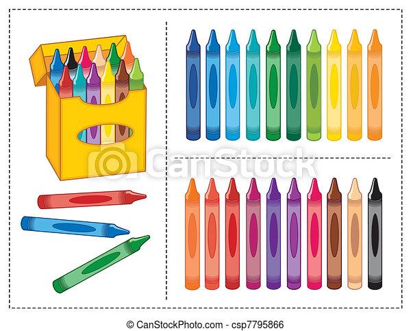 scatola, colori, 20, pastelli - csp7795866