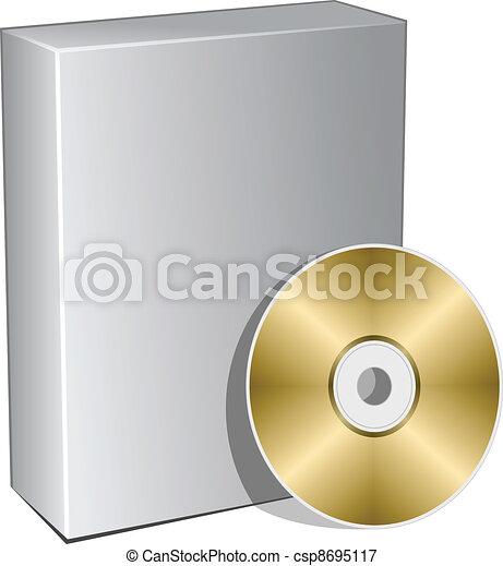 scatola, compatto, vettore, disco, 3d - csp8695117