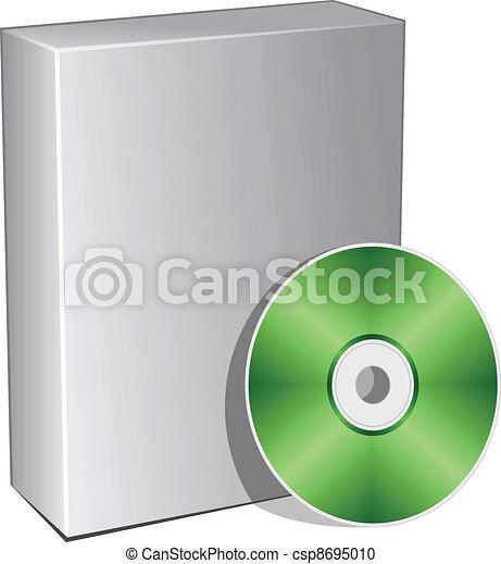 scatola, compatto, vettore, disco, 3d - csp8695010
