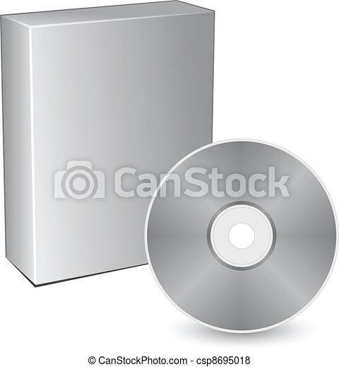 scatola, compatto, vettore, disco, 3d - csp8695018
