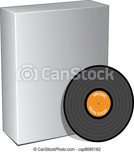 scatola, disco, vettore, vinile, 3d - csp8695162