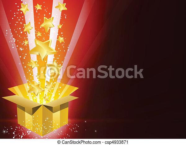 scatola, dorato, stelle, regalo, natale - csp4933871