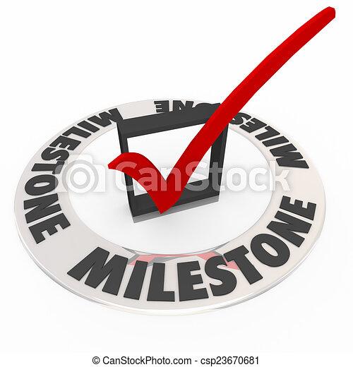 scatola, giramento, punto, portata, marchio, momento, importante, pietra miliare, assegno - csp23670681