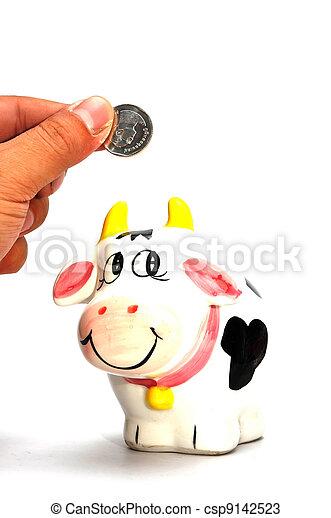 scatola, moneta, mucca - csp9142523