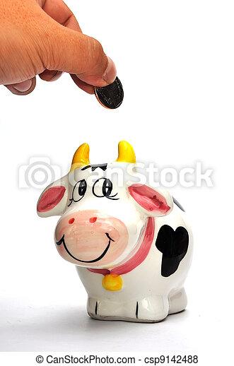 scatola, moneta, mucca - csp9142488