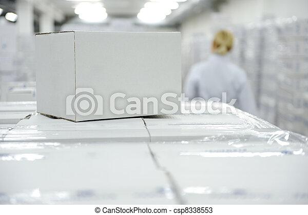 scatola, pacchetto, bianco, tuo, magazzino, pronto, logotipo, messaggio, o - csp8338553