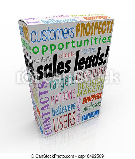 scatola, prodotto, vantaggio, pacchetto, prospettive, vendite, competitivo, piombi, clienti, parole, risultato, nuovo, o, illustrare - csp18492509