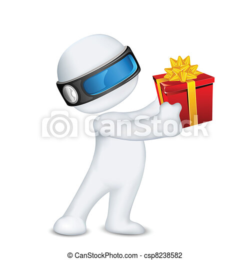 scatola, uomo, vettore, regalo, 3d - csp8238582